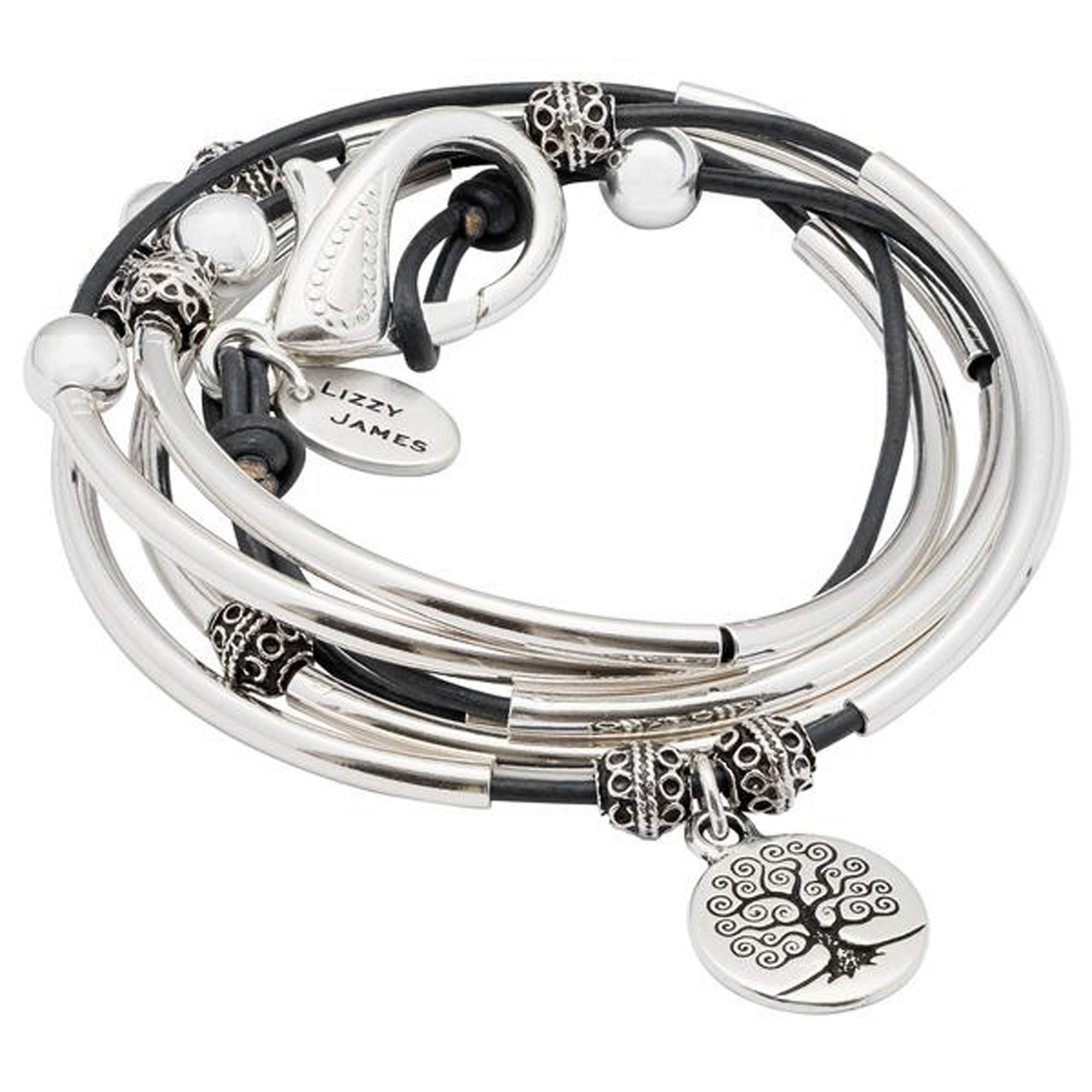 Lizzy James April with Tree of Life Charm Silver Bracelet in Natural Black Leather (XLarge) by Lizzy James