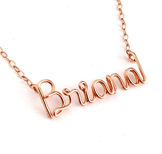 24c33dfbbf688 Amazon.com: Rose Gold Name Necklace. Personalized Custom Name ...