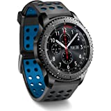 Greatfine 22MM Silicone Remplacement Bracelet Bande pour Samsung Gear S3 frontier / Gear S3 Classic / Gear2 R380 Neo R381 Live R382 / MOTO 360 2nd/Pebble Time / LG G Watch W100/W110/Urbane (Black Blue)