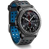 Greatfine Watch Uhrenarmband Strap 22MM Armband für Samsung Gear S3 Frontier / S3 Classic / Gear2 R380 Neo R381 Live R382 / MOTO 360 2nd/Pebble Time / LG G Watch W100/W110/Urbane (Black Blue)