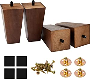 5 in Square Sofa Leg Wood Furniture Legs Square Couch Legs- Espresso Tapered Feet Replacement for Legs for Furniture or DIY Projects Set of 4