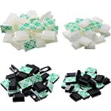 100 Pieces Adhesive Cable Clips Drop Cable Clamp Management Clips Wire Cord Holder, 2 Sizes, 2 Color