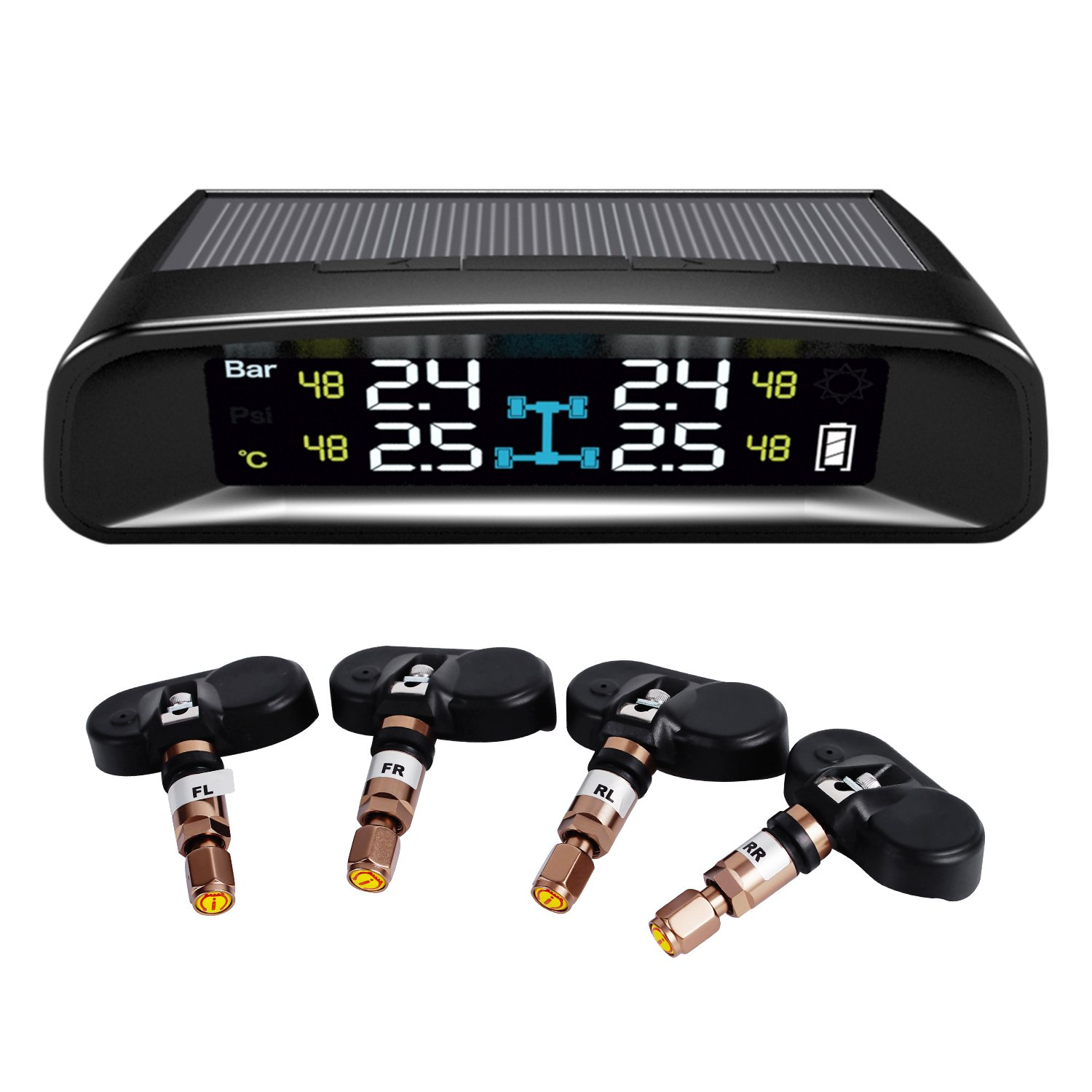 TYDO Solar Powered TPMS Wireless Tire Pressure Monitoring System 4 Sensors DIY Tire Gauge With Auto Alarm System Real-time LED Displays for RV Trailer, Internal Sensor