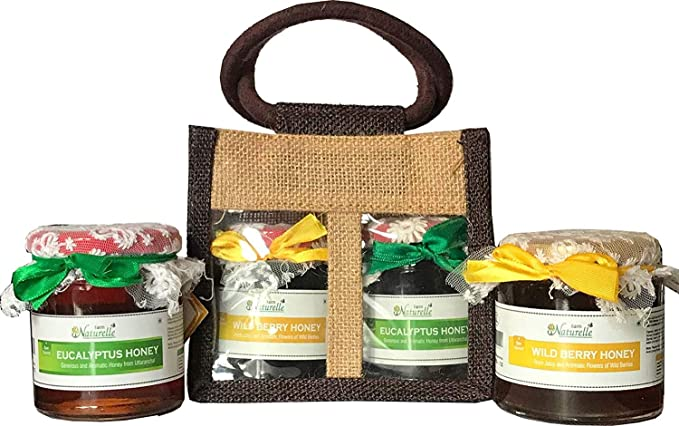 Corporate Christmas Gifts.Farm Naturelle Set Of 5 Jute Gift Bag With Pure Raw