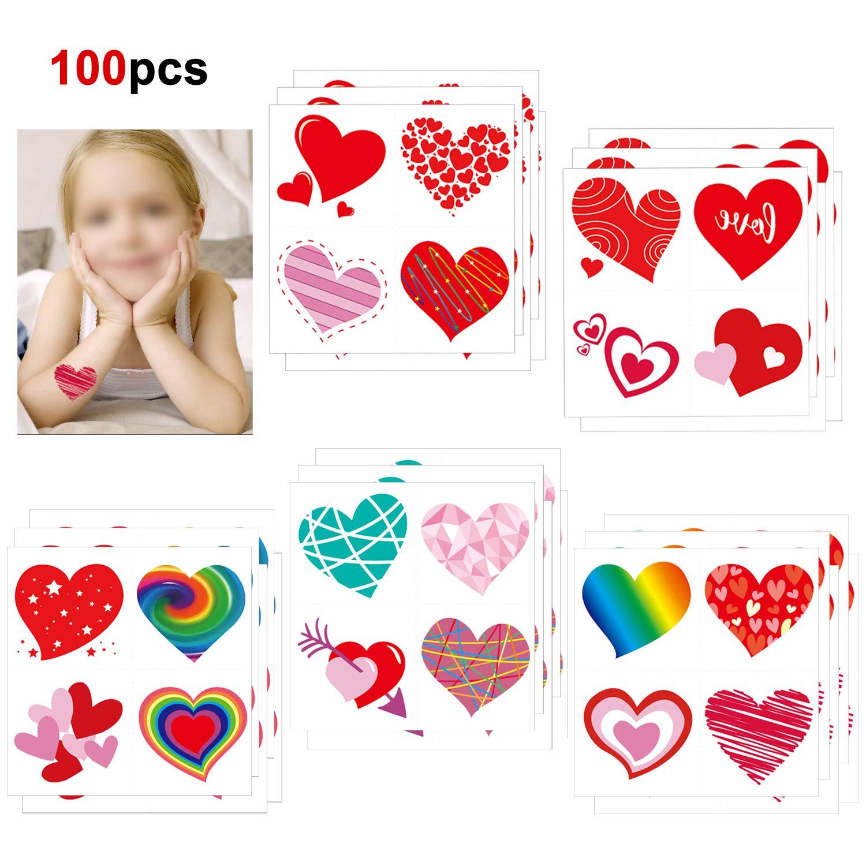 Howaf 100 Piezas corazón Tatuajes temporales Falso Tatuajes Pegatinas para niños niñas Infantiles Fiesta de cumpleaños Regalo piñata
