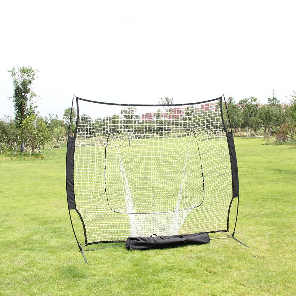 POCHDUDY Portable Baseball and Softball Hitting Net Practice Net with Stand,Baseball Train Net Baseball net with Strike Zone and Bow Frame,Baseball Training Equipment by POCHDUDY