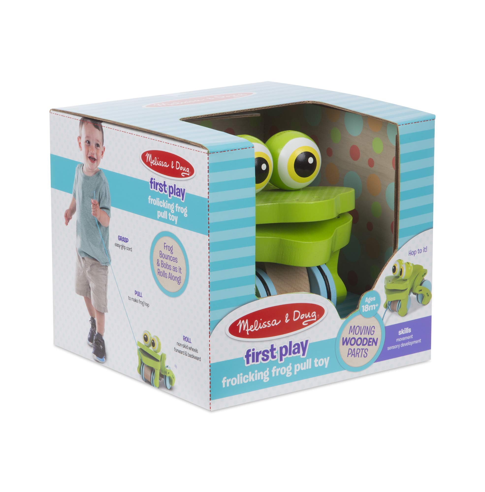 Melissa & Doug First Play Frolicking Frog Wooden Pull Toy by Melissa & Doug (Image #2)