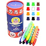 Lebze 12 Colors Toddlers Crayons - Non Toxic Crayons Silky Washable Baby Crayon - Safe for Infant, Kids and Children Flower M