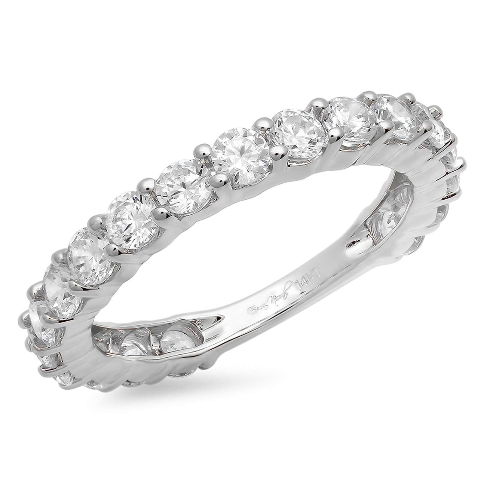 2.2 Ct Round Cut Pave 19-Stone Engagement Wedding Bridal Anniversary Ring Band 14K White Gold, Size 3.75, Clara Pucci
