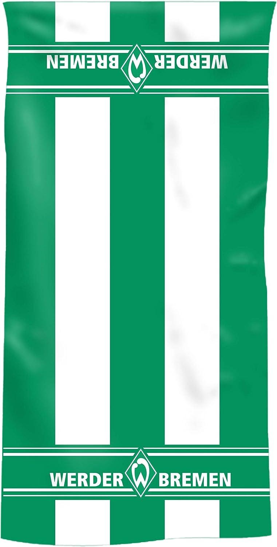 70//140 cm 100/% Baumwolle Fanartikel Werder Bremen Duschtuch Blockstreifen