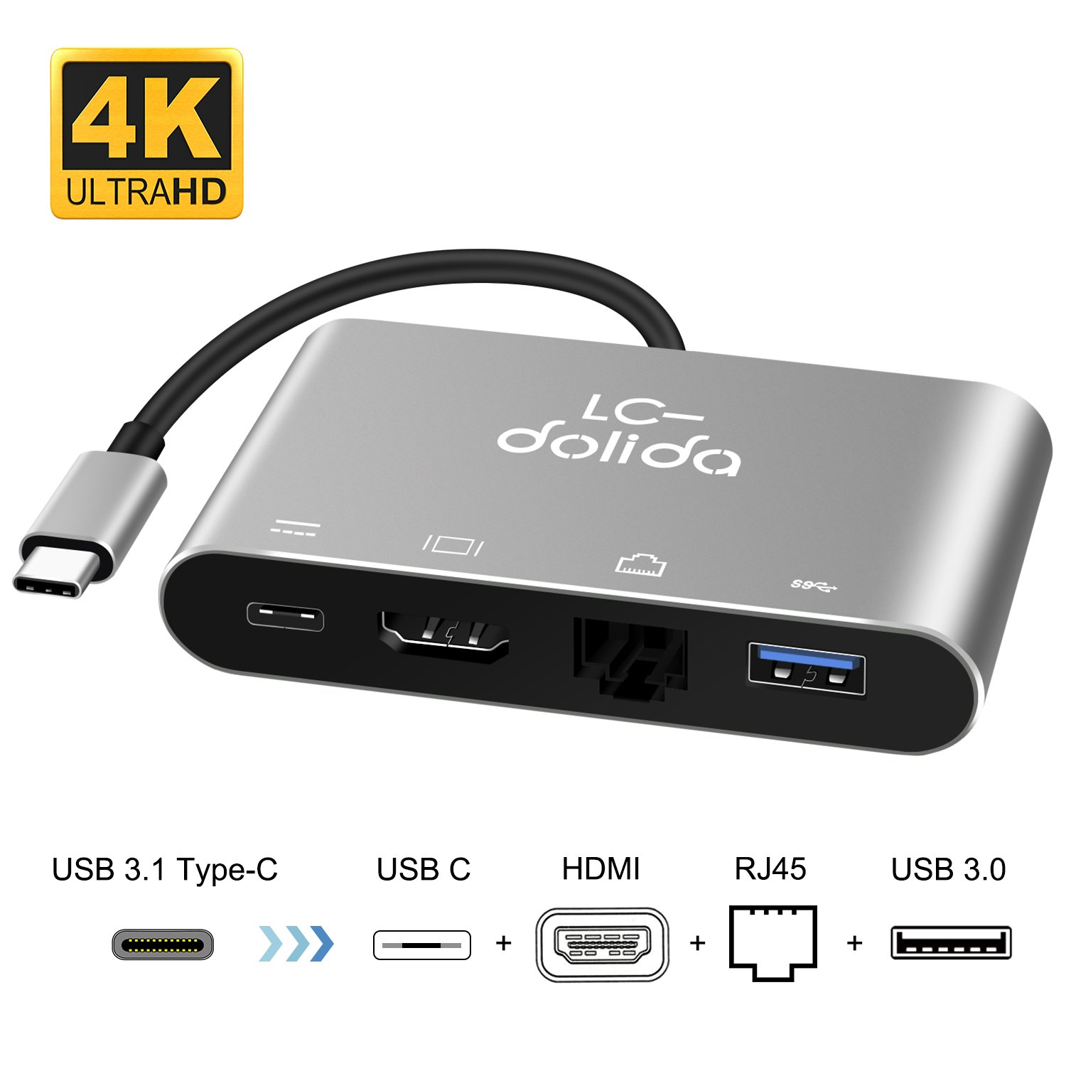 USB C To HDMI Adapter, LC-dolida Type C to HDMI 4K Hub with Gigabit Ethernet, Power Delivery Charging Port and USB 3.0 Port for New MacBook Pro 2016/2017, Samsung Galaxy S8/S8 Plus/Note 8, No Driver