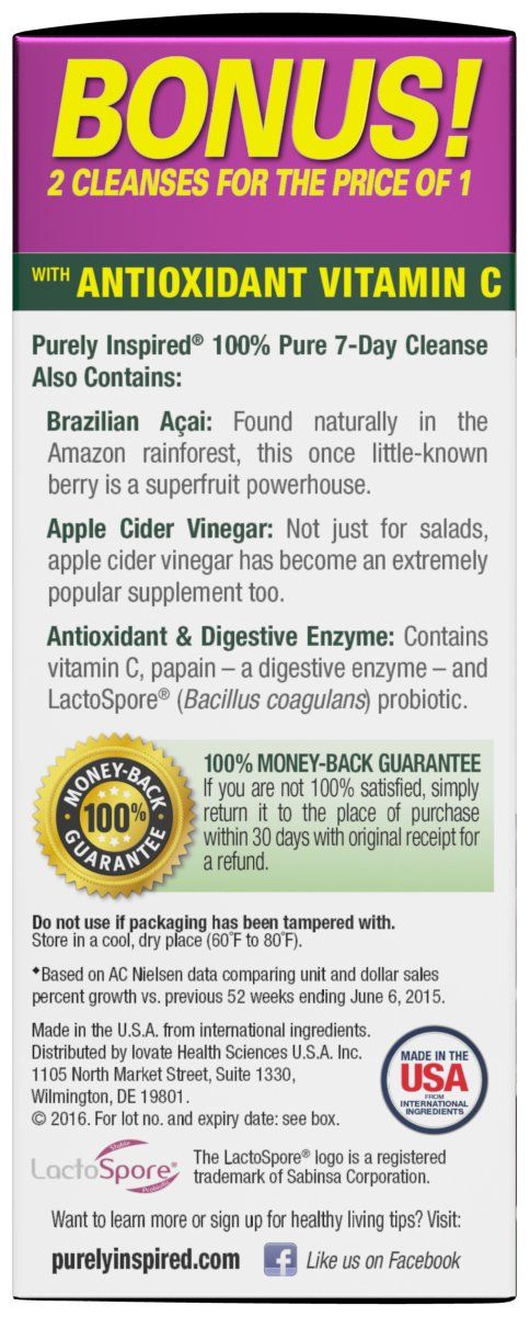 Purely Inspired Organic 7 Day Cleanse, Unique Senna Leaf Extract Formula  with Antioxidant (Vitamin