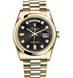 Rolex Day-Date President 36mm Yellow Gold Watch Black Diamond Dial 2016