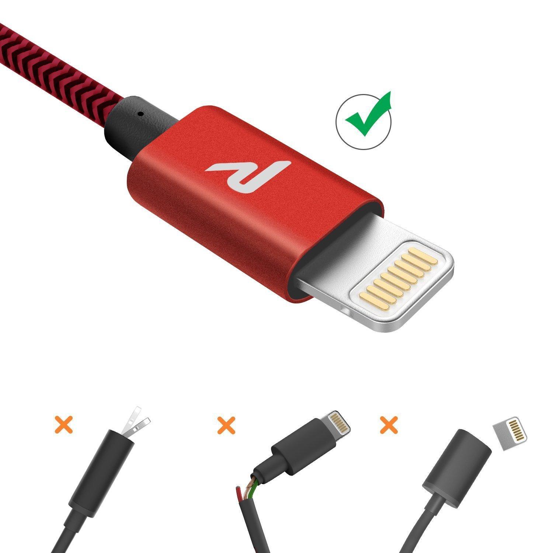 Apple MFi Certificado Rojo Rampow Cable iPhone Cable Lightning Nyl/ón Duradero Cargador iPhone Compatible con iPhone 11 11 Pro XS MAX XR X 8 7 6S 6 5 5S 5C SE iPad iPod y m/ás 1M