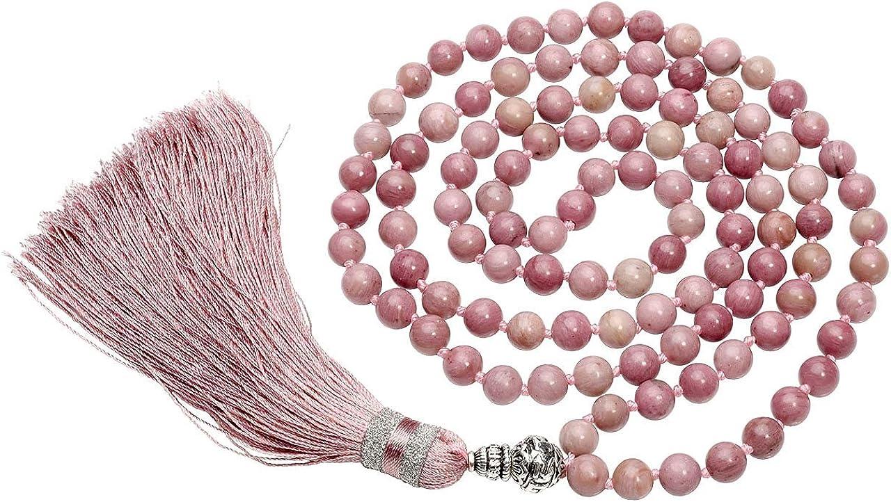 CrystalTears 108 perlas piedras preciosas Yoga pulsera Wickelarmband Om mani Padme hum Buddha Gebetskette Healing Reiki piedra Mala cadena Halskette con borla (Rhodochrosit)