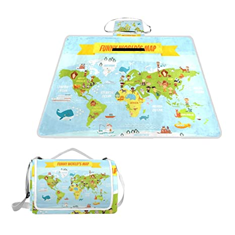 Amazon naanle funny animals world map picnic blanket outdoor naanle funny animals world map picnic blanket outdoor picnic blanket tote water resistant backing handy gumiabroncs Images