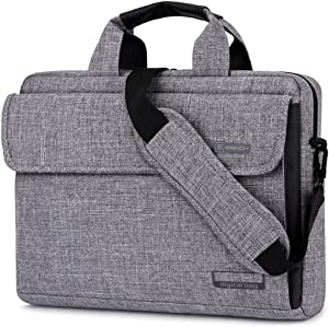Brinch 15.6 Inch Unisex Fabric Laptop Sleeve Messenger Shoulder Bag for 15-15.6 Inch Laptop/Notebook/MacBook/Ultrabook/Chromebook Computers (Grey)