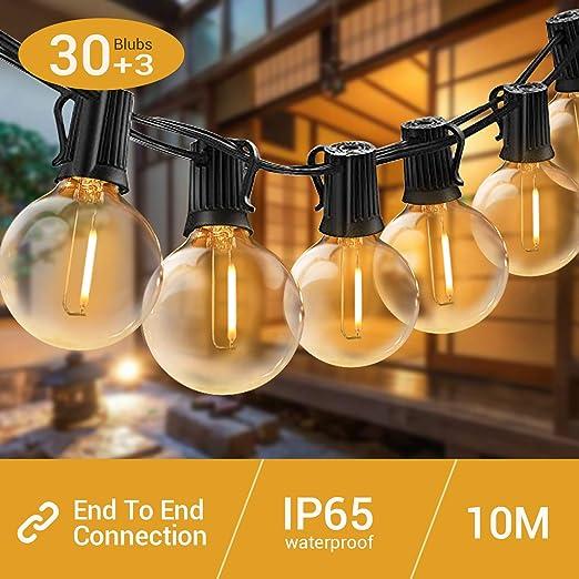 Elegear Guirnaldas Luminosas Exterior, 12,2M G40 Guirnaldas Luces Interiores, Cadena de Luz con 30+3 LED Bombillas, Guirnalda Luz para Festivales, Bodas, Jardín, Patio(12,2M 30LED): Amazon.es: Iluminación