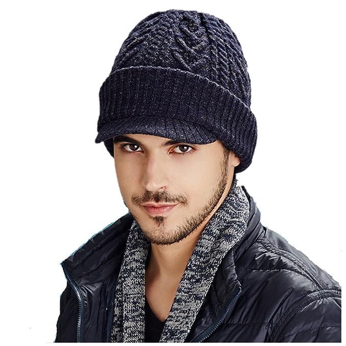 8a859b517c1 Kenmont Autumn Winter Men Visor Knitted Hat Wool Jacquard Patchwork Beanie  Skullies Cap Outdoor Ski Sports