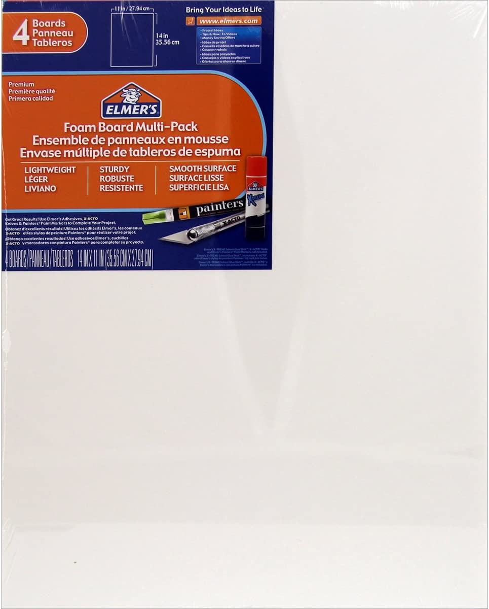 Elmers/X-Acto 950021 Foamboard, 11-Inch x 14-Inch x .1875-Inch, White, 4/Pack : Foam Boards : Office Products