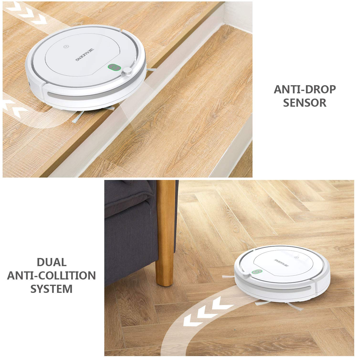 White Tangle-Free for Pet Hair and Long Hair BEAUDENS Robot Vacuum Cleaner with Slim Design Automatic Planing for Home Tile Hardwood Floors and Low Pile Carpet