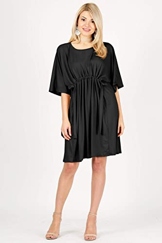 0a05d22a56ce1 Womens Short Sleeve Tie Empire Waist Casual Dress Pleated Loose A Line Dress  Reg & Plus-USA at Amazon Women's Clothing store: