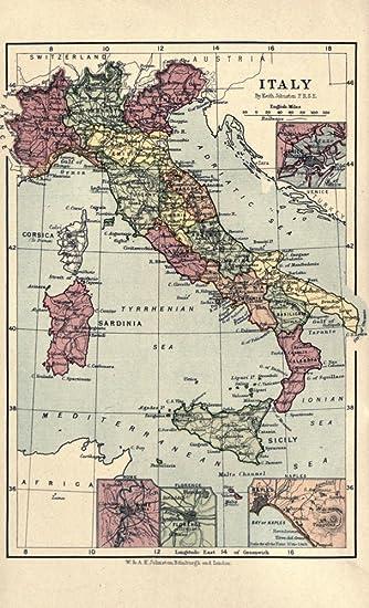 Amazon.com: Map A Pilgrimage to Italy 1899 Italy, Sicily, Sardinia ...