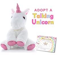 MORDUN Talking Unicorn Plush Stuffed Animal | Peluche de Unicornio | Birthday Gifts Ideas Interactive Toys for Girls Teens Graduation Gifts for Kids Preschool Kindergarten