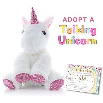 Amazon Com Mordun Talking Plush Unicorn Pink Cute Stuffed Animal