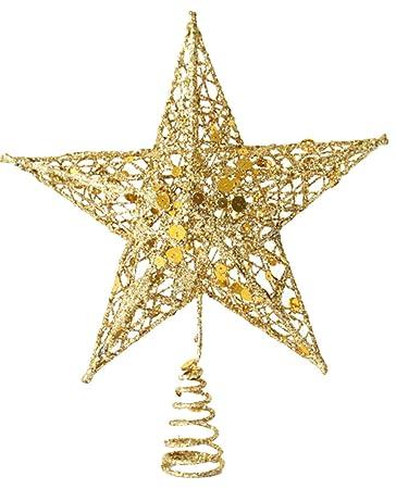 Weihnachtsstern Für Tannenbaum.Lukis Weihnachtsstern Weihnachtsbaum Christbaumspitze Schmuck Deko 20 15cm Gold