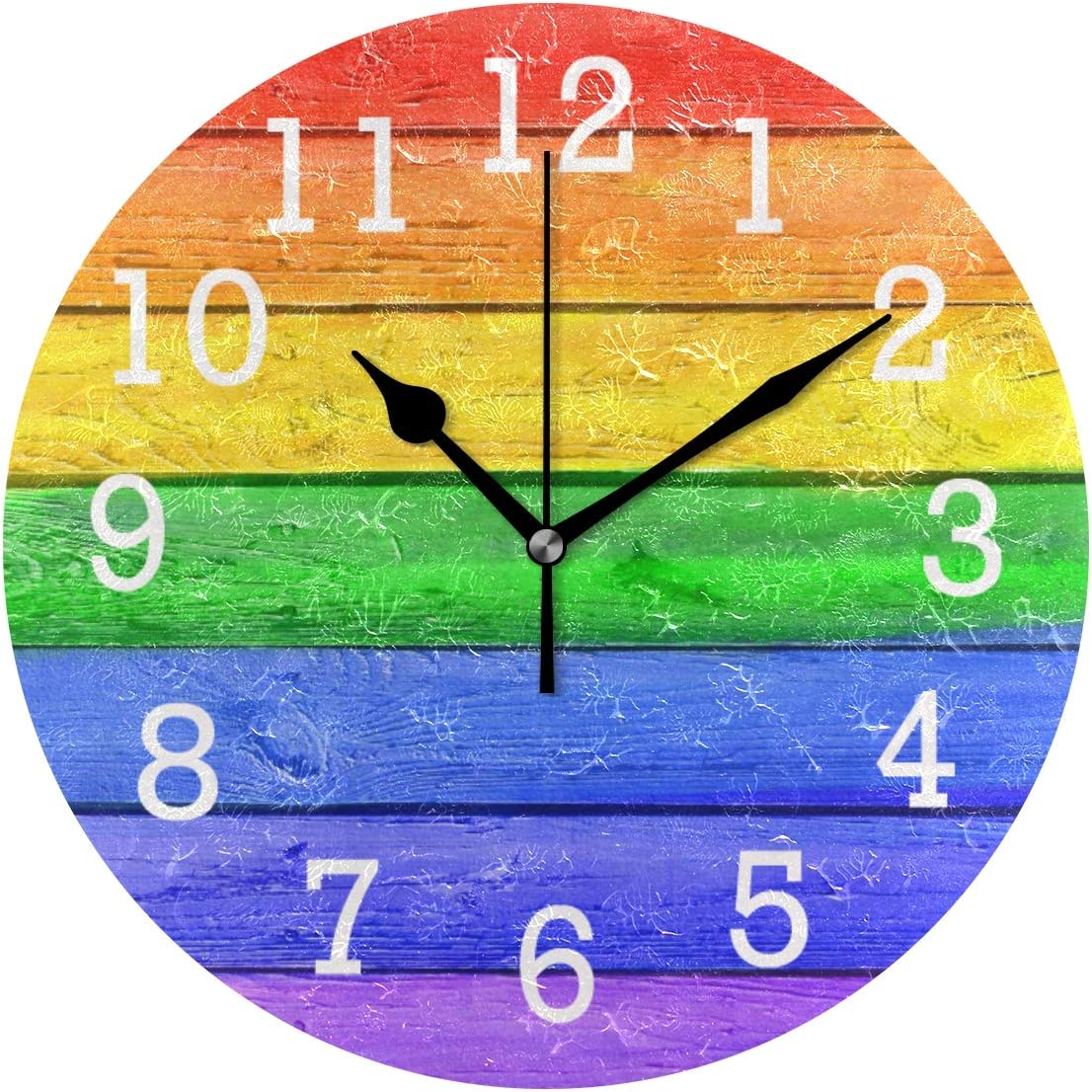 ATONO Grunge Rainbow Wooden Striped Colored Silent Non-Ticking Retro Round Wall Clock [Battery Operated] Home Decorative Easy to Read Aesthetic Kitchen Office School Living Classroom Bedroom Use