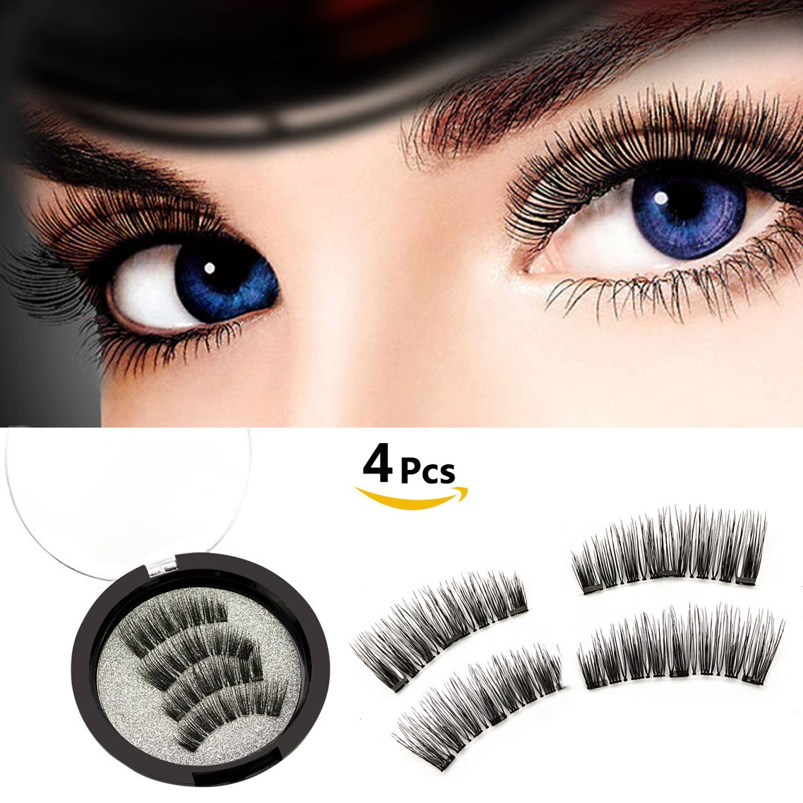 c5488733b6c Amazon.com : Reusable Magnetic False Eyelashes Ultra Comfortable Fake  Lashes Natural Look Long Fake Eyelashes Set No Glue Mess Triple Magnets False  Lashes ...
