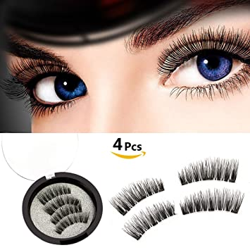 ed1180cb438 Amazon.com : Reusable Magnetic False Eyelashes Ultra Comfortable Fake  Lashes Natural Look Long Fake Eyelashes Set No Glue Mess Triple Magnets  False Lashes ...