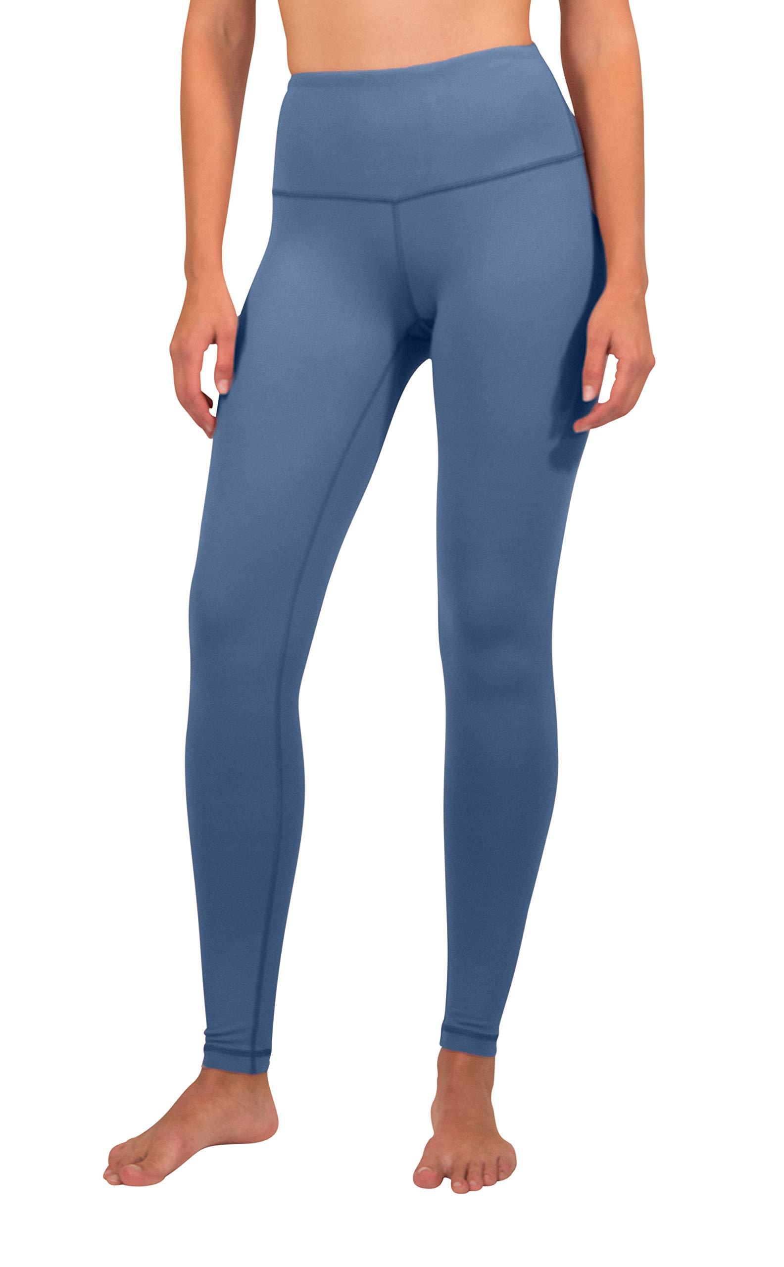 90 Degree By Reflex - High Waist Power Flex Legging - Tummy Control - Carbon Blue - Medium by 90 Degree By Reflex