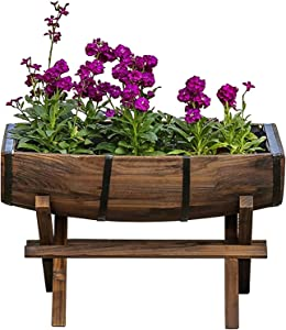 LSYFCL Elevated Solid Wood Carbonized Flower Pot Raised Garden Bed Anti-Corrosion Planting Outdoor Balcony Vegetable PlanterSolid Wood Plastic Elevated Garden Bed