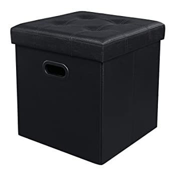 Amazoncom SONGMICS Folding Storage Ottoman Cube Footrest Seat