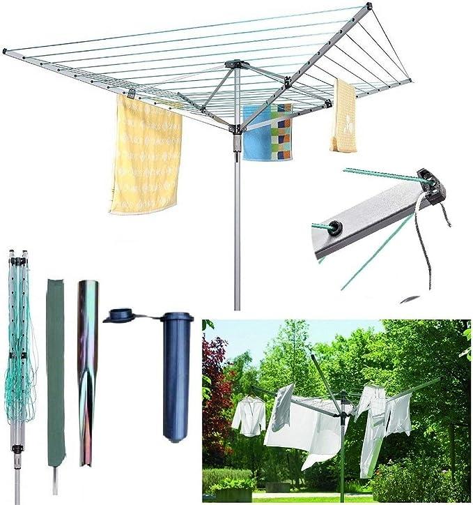 Tendedero giratorio BISEN de 60 m con 4 brazos, tendedero de ropa para jardín al aire libre con estaca a prueba de agua: Amazon.es: Hogar