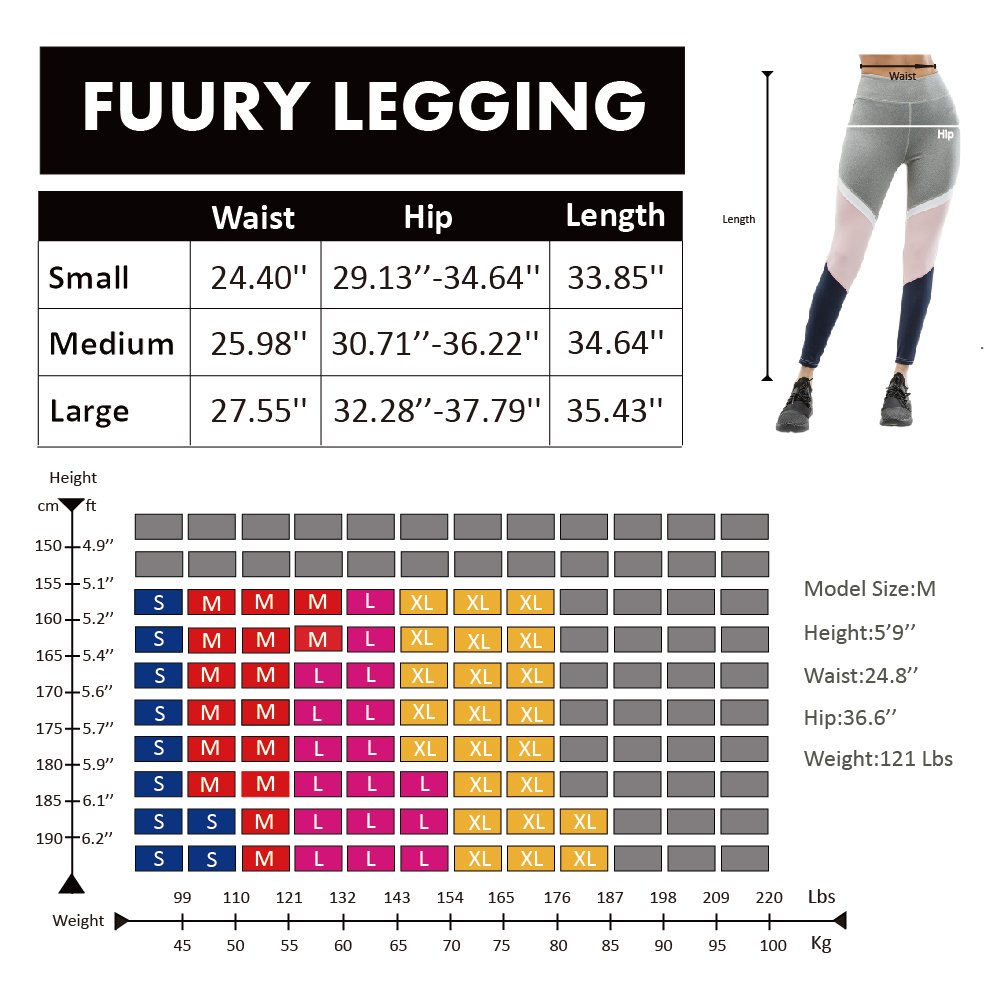 FUURY Womens Workout Legging Yoga Gym Running Fitness Sport Pants Athletic Soft Workout Gym Leggings (Colorblock A, S)
