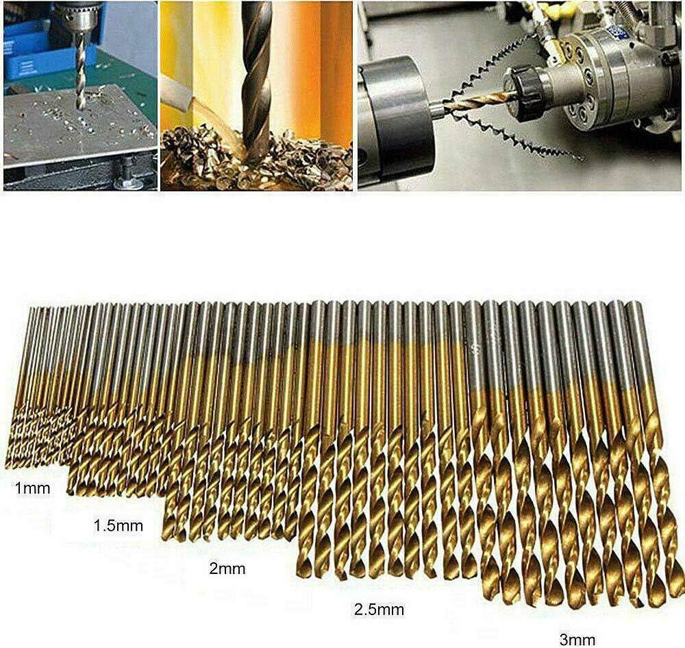 Broca Helicoidal Broca De Acero Revestido De Titanio De Alta Velocidad Taladro De Cabeza De Cobalto Resistente Al Calor Taladro De V/ástago Recto Para Madera Metal Pl/ástico
