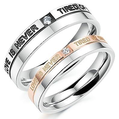 Amazon.com: Aooaz 2 pcs anillos para él y para ella anillos ...