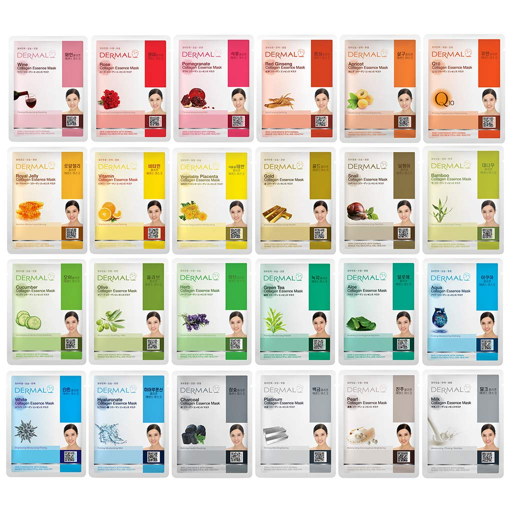 DERMAL 24 Combo 2 Pack Collagen Essence Full Face Facial Mask Sheet - The Ultimate Supreme Collection for Every Skin Condition Day to Day Skin Concerns. Nature made Freshly packed Korean Face Mask