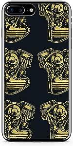 iPhone 7 Plus Transparent Edge Phone Case Engine Phone Case Car Lovers Phone Case Black Engine iPhone 7 Plus Cover with Transparent Frame