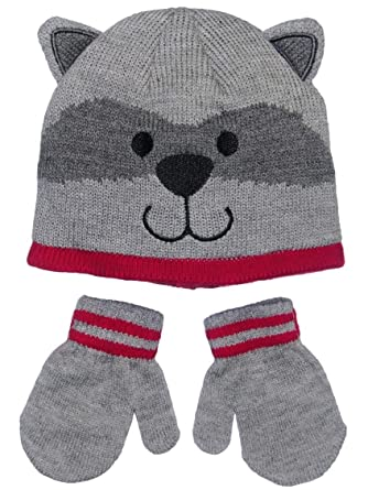 Boys Raccoon Baby Infant Toddler Animal Winter Critter Hat and Mitten Set  by Carters - Gray d538f0c534b5