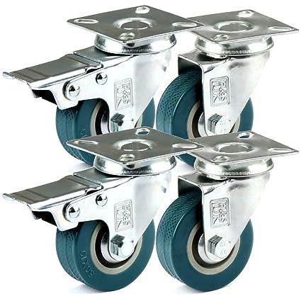 H&S - Ruedas giratorias de goma para muebles, 4 ruedas, ...