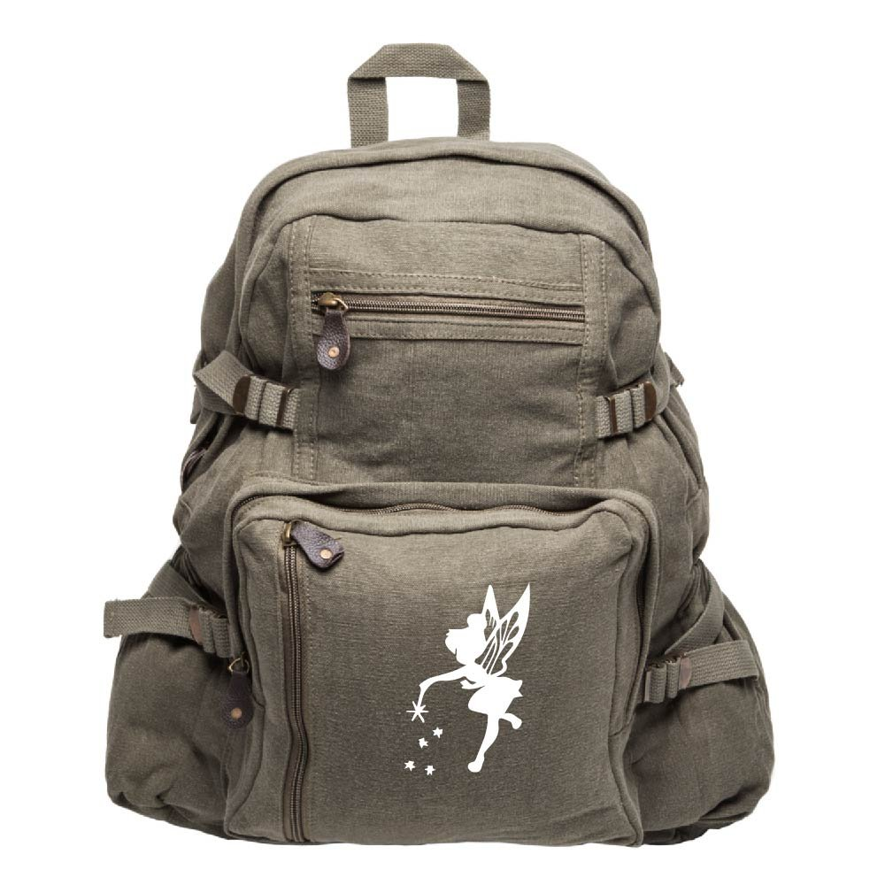 Tinker Bell Fairy Peter Pan Army Sport Canvas Backpack Bag Olive & White, Large