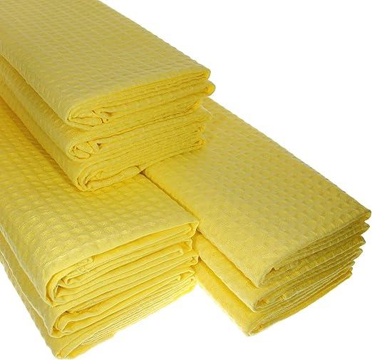 9 x paños de algodón 100% Suela de piqué en amarillo/paños de cocina/paño de limpieza: Amazon.es: Hogar