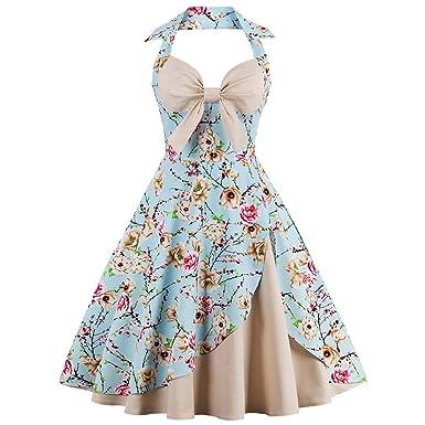 BeautyGal Women s Vintage Floral Print Swing Tea Halter Cocktail Dress(Apricot  ... 15acb4dfa