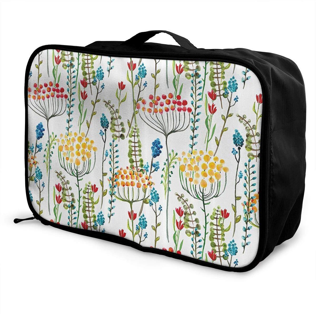 ADGAI Hand Drawn Doodle Style Canvas Travel Weekender Bag,Fashion Custom Lightweight Large Capacity Portable Luggage Bag,Suitcase Trolley Bag