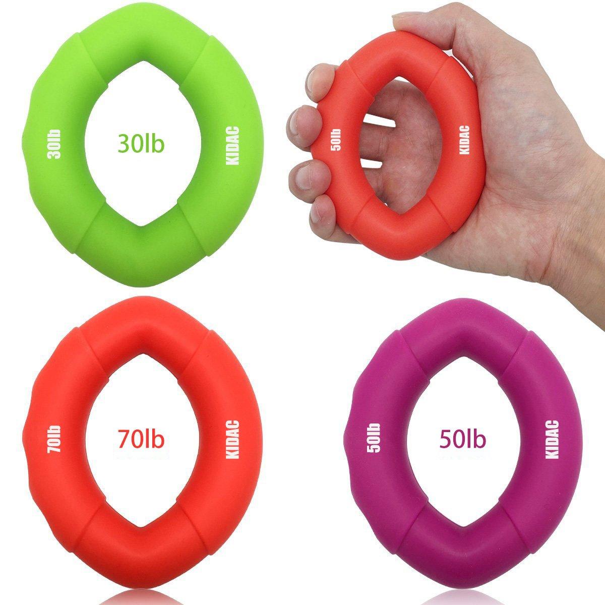 KIDAC Anneau d'exercice en Silicone Exerciseur de Poignée Hand Grip Exerciser Poignée de Main pour le Renforcement de la Main (un ensemble de 3 30lb 50lb 70lb) A-GRIP0001