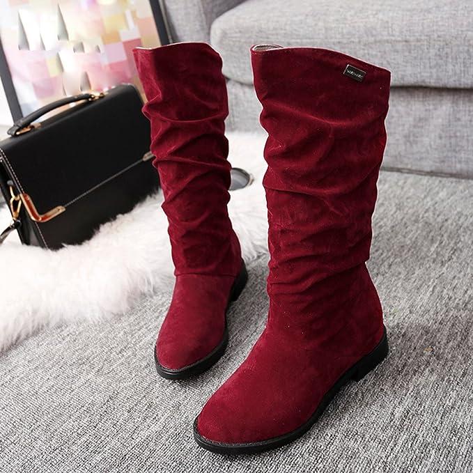 Zapatos De Mujer,RETUROM Botas De Mujer Botines Mujer Invierno OtoñO Negro Plano Pierna Alta Ante Casual Largo Alto Botas De Color SóLido Plana Martin Altas ...